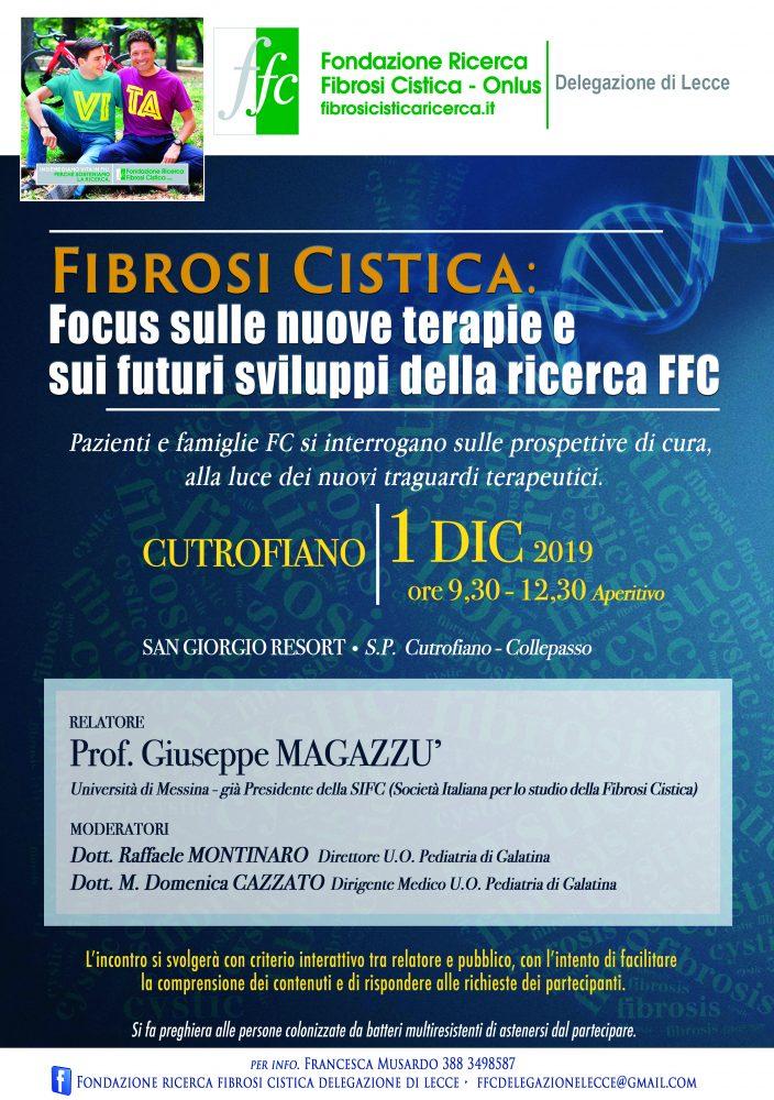 """A Cutrofiano incontro """"Fibrosi cistica: focus sulle nuove terapie e sui futuri sviluppi della ricerca FFC"""""""