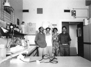 Nel laboratorio di Patologia Generale a Verona (1992).